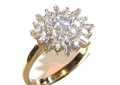 18ct yellow and white gold 25 stone diamond ring