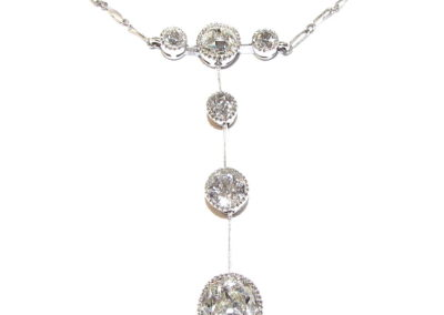 paladium and platinum 6 stone diamond necklace