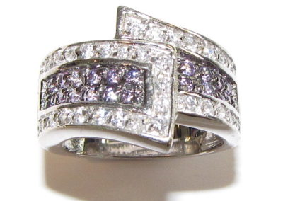 14ct White gold cubic zirconia wrap-over ring
