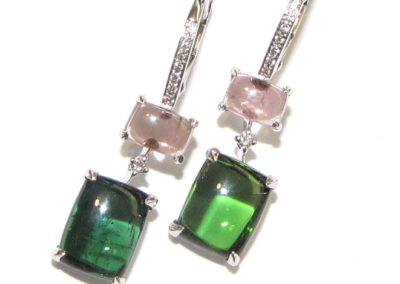 18ct white gold tourmaline and diamond earrings