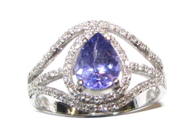 18ct white gold diamond and tanzanite ring