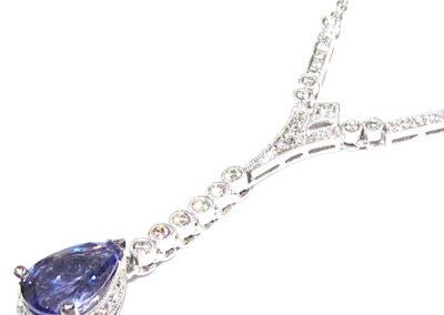 18ct white gold tanzanite and diamond necklace