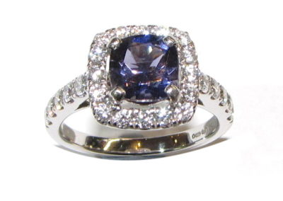 18ct white gold Iolite and diamond ring