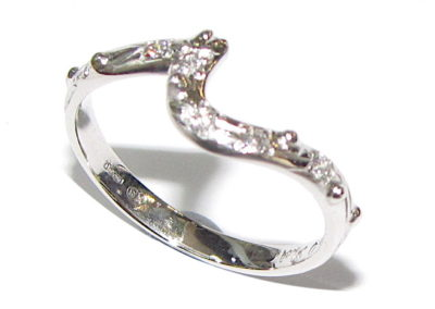 Platinum and diamond wave ring