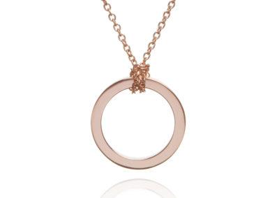 9ct rose gold circle pendant
