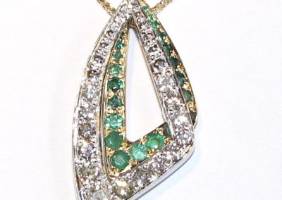 yellow and white gold diamond and emerald pendant