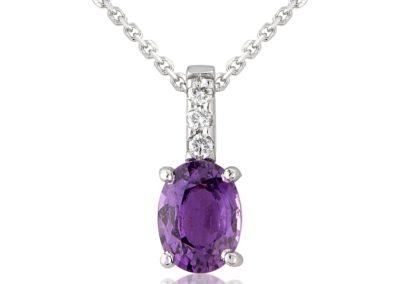 18ct white gold purple sapphire and diamond pendant