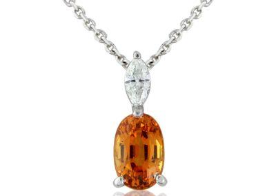 18ct white gold mandarin garnet and diamond pendant