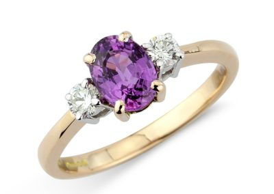 18ct rose and white gold purple sapphire and diamond ring