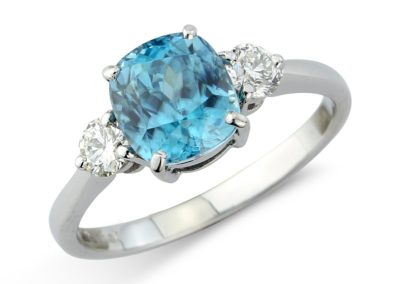 18ct white gold blue zircon and diamond ring