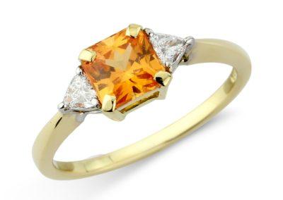 18ct yellow and white gold mandarin garnet and diamond ring