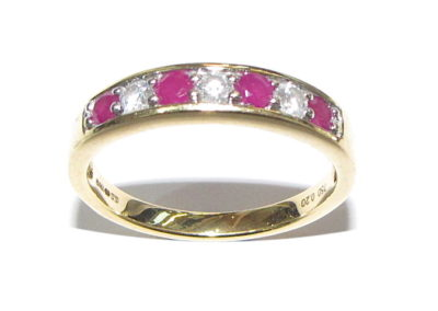 18ct yellow gold 7 stone diamond and ruby eternity ring