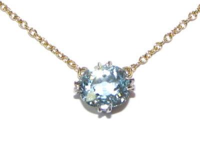 9ct yellow gold aquamarine necklace