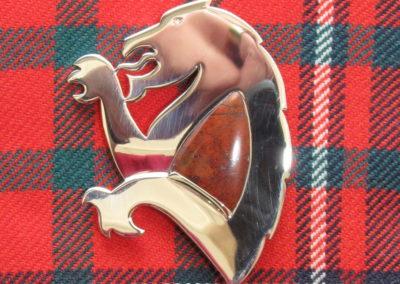 Silver lion rampant kilt pin