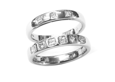 18ct white gold wedding and eternity rings