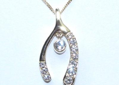 diamond wishbone pendant
