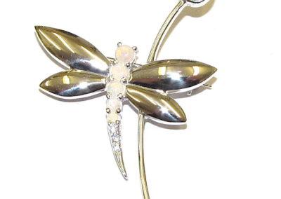 Opal dragonfly brooch