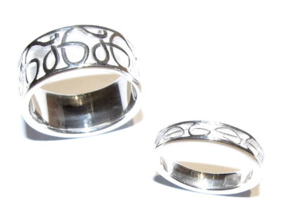 White gold 'initials' wedding rings