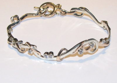 9ct white and rose gold diamond bracelet
