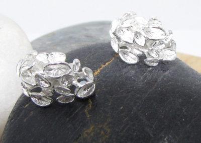 silver fungus earrings