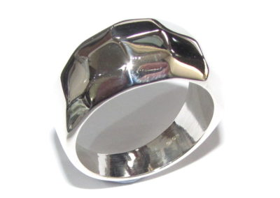 silver hammered domed ring