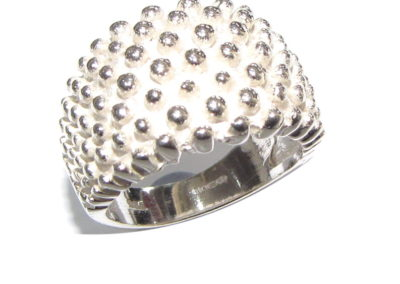 silver wide domed beaded ring