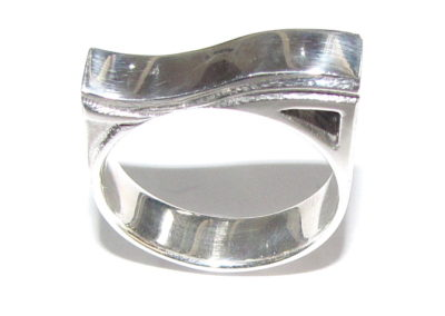 silver ring with geometric head