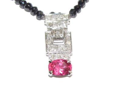 platinum diamond and pink spinel pendant