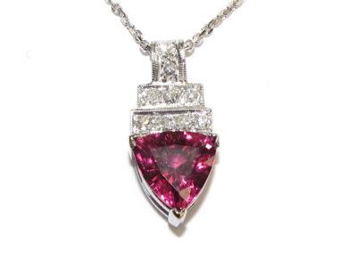 platinum diamond and rhodolite garnet pendant