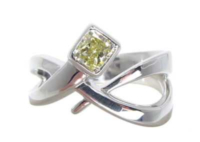 platinum yellow diamond ring