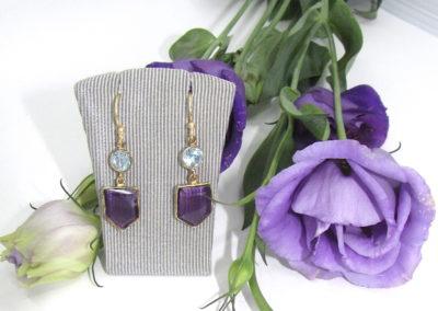 Silver / gold plated amethyst and topaz earrings