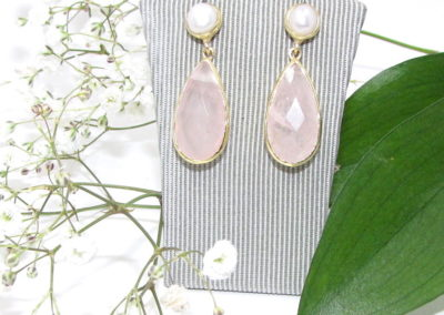 silver / gold plated pearl and rose quartz drop earrings