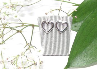 Silver heart outline earrings