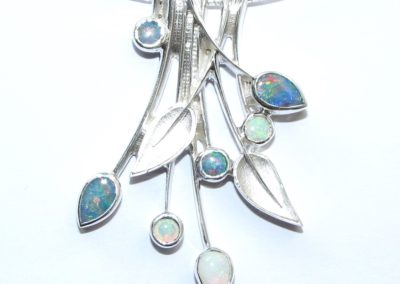 Silver and opal pendant