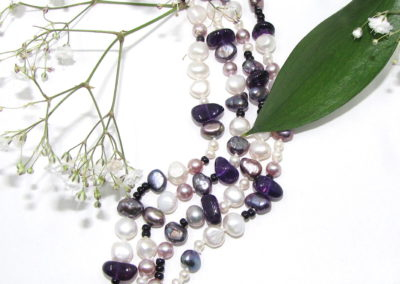 Freshwater pearl and amethyst four row bracelet