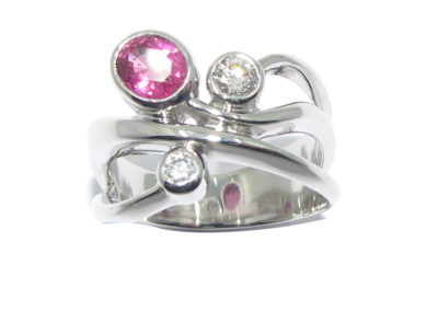 Platinum diamond and pink spinel ring