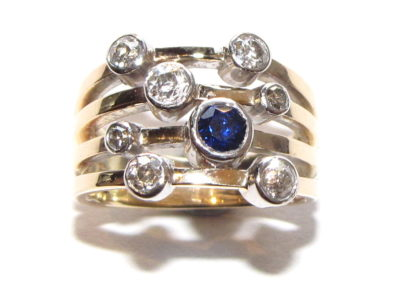yellow gold sapphire and diamond bubble ring