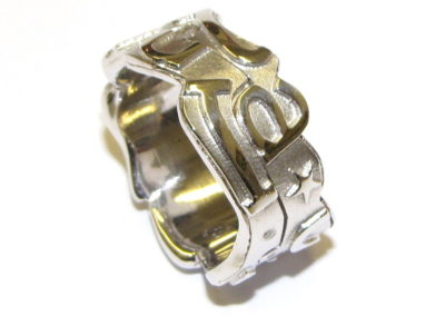 white gold jigsaw ring