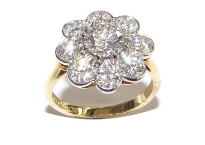 18ct yellow and white gold 9 stone diamond ring