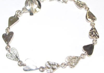 silver textured hearts bracelet