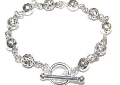 Silver textured ball bracelet