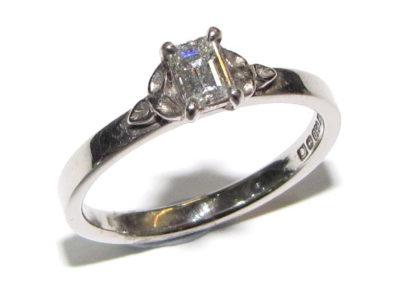palladium single stone diamond ring