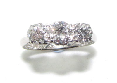 18ct white gold and platinum 3 stone diamond ring