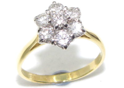 18ct yellow and white gold 7 stone diamond ring
