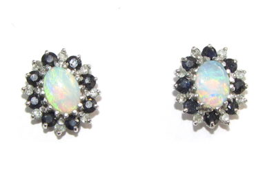 9ct yellow and white gold opal, sapphire and diamond stud earrings