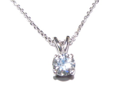 Platinum single stone 0.50ct diamond pendant, 18ct white chain