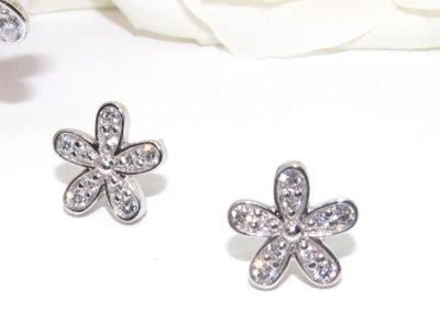 9ct white gold diamond daisy earrings