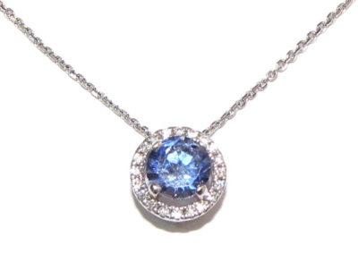 18ct white gold sapphire and diamond pendant