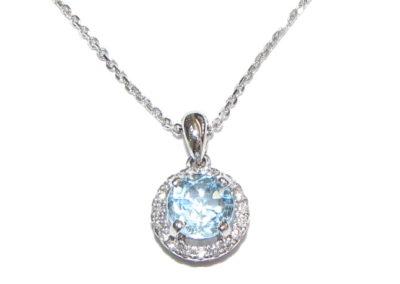 18ct white gold diamond and blue topaz pendant