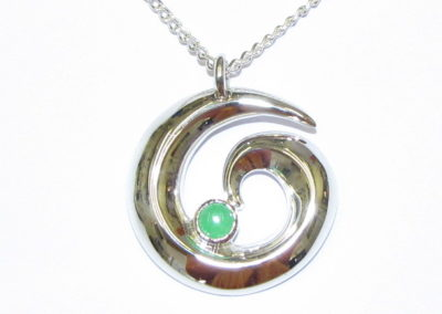 silver and jade pendant
